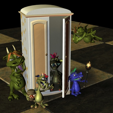 malice: 3d rendering of many little monster in the room as illustration