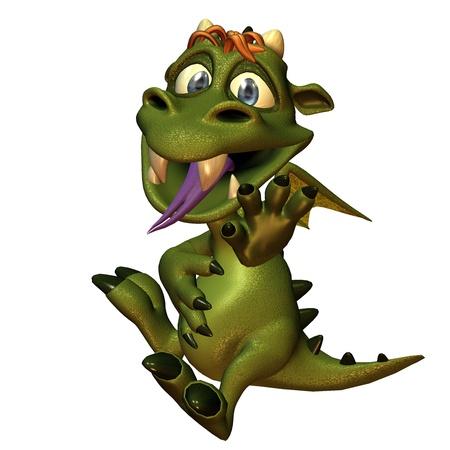 fend: rendering 3D di un piccolo drago con pancia piena in stile fumetto come illustrazione