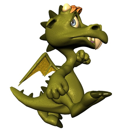 3d rendering of a small kitedragon, marching as illustration in comic style illustration