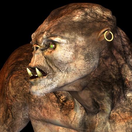 일러스트 레이 션으로 초상화에서 거 대 한 괴물의 3d 렌더링