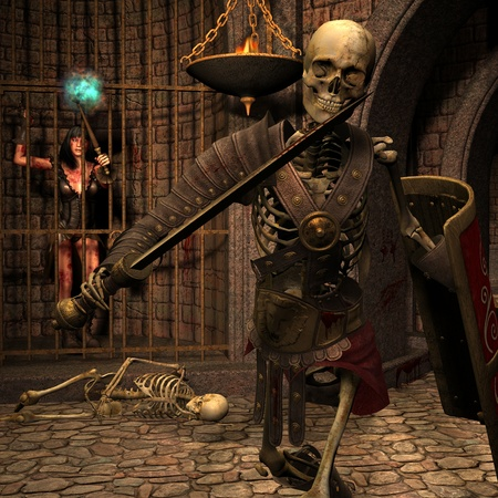3D Rendering Skeleton warriors in the Dungeon photo