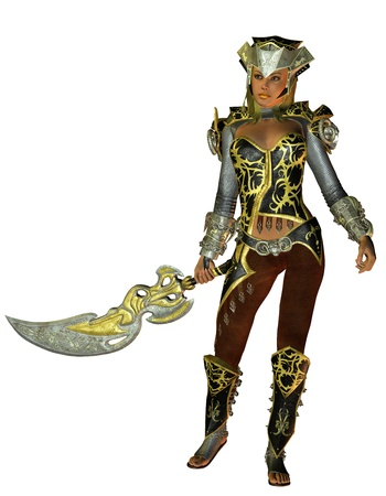 middle age women: 3D rendering young warrior in armor with sword