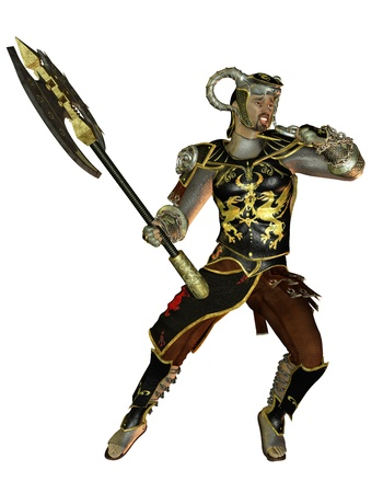 3D rendering warrior in armor and battle ax photo