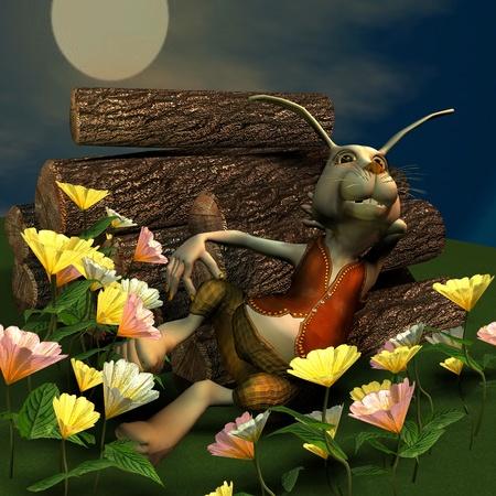 politely: 3d  rendering of a rabbit at full  moon as an illustration  3d  rendering of a rabbit at full  moon as an illustration  3d  rendering of a rabbit at full  moon as an illustration Stock Photo