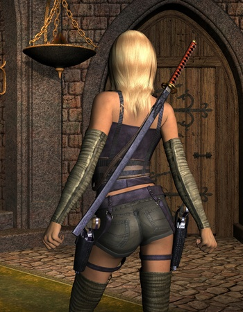 armed: 3D rendering armed young woman from behind