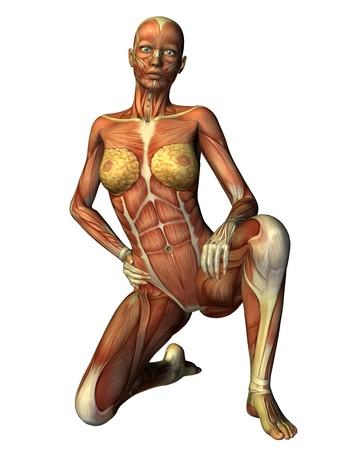 3D Rendering Muscle woman on one knee