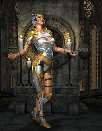3D Rendering Warrioress in silver armor on golden Shrine