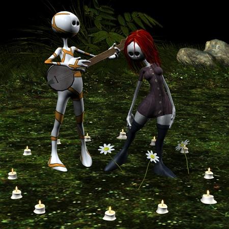 3D-weergave van een romantische scène met paren als illustratie