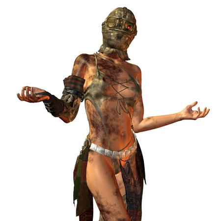 futuristic woman: 3D Rendering of a dirty woman with mask