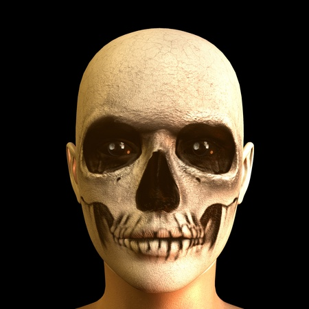 3d rendering of a  painted skull  as illustration illustration