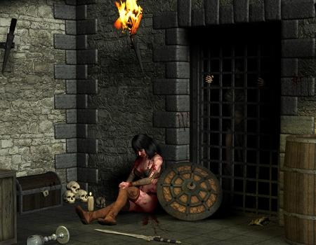 dungeon: 3D rendering female warrior in a dungeon