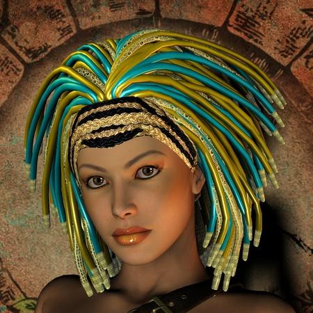 dreadlocks: 3D rendering Portrait young woman with dreadlocks Stock Photo