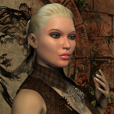 pony tail: 3D Rendering Portrait of young blonde woman with pony tail