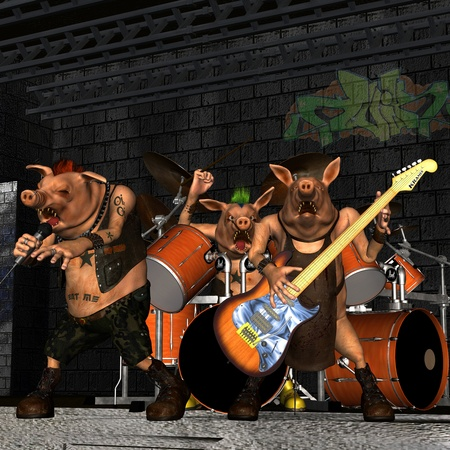 grunt: 3d rendering of a pig punk band in the concert as an illustration