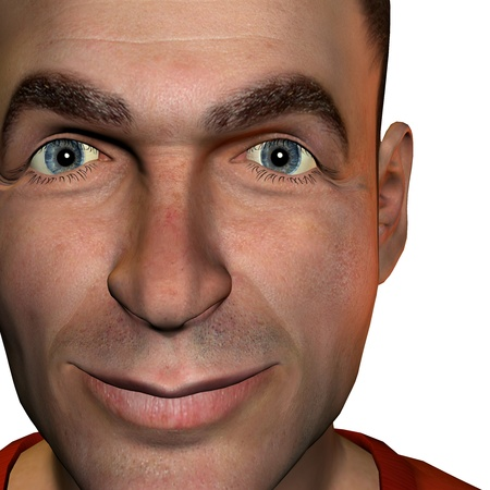 politely: 3d rendering  of a man as a portrait and  illustration