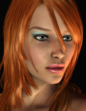 3D Rendering Portrait young woman with red hair Stock fotó