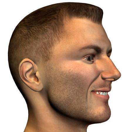 実例としてプロファイルに男性の頭部の 3 d レンダリング