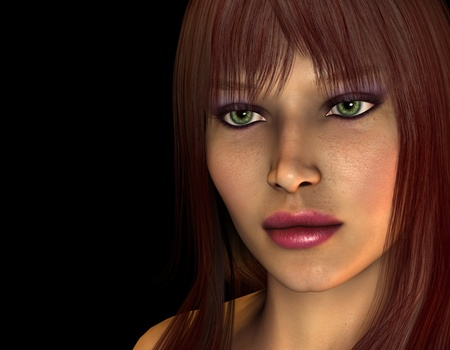 light brown hair: 3D Rendering Portrait of woman with reddish brown hair