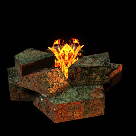 embers: 3d rendering of an open fire as an illustration