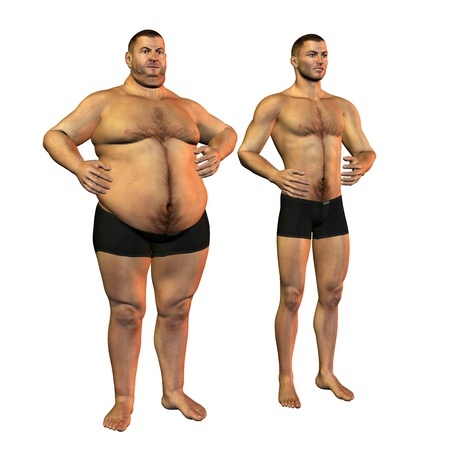 3d rendering of a fat man before and after weight loss than illustration