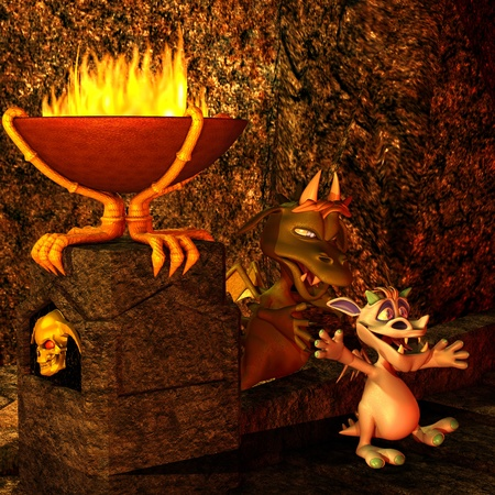 politely: 3d rendering of a little dragon in the dragon cave as illustration