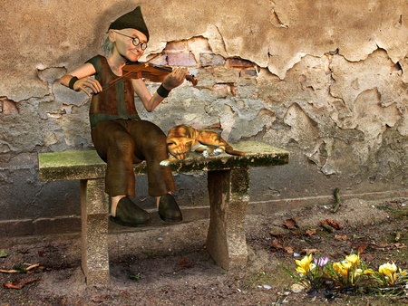 crumbling: 3d  rendering of a man, who  the spring musical  welcomes as an illustration