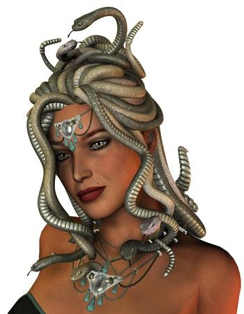 3D rendering of the mythological Medusa Stok Fotoğraf