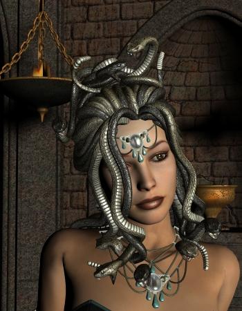 medusa: 3D rendering of the medusa in front of Shrine