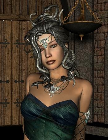 maligno: Procesamiento de Medusa linda con serpientes maligno 3D Foto de archivo