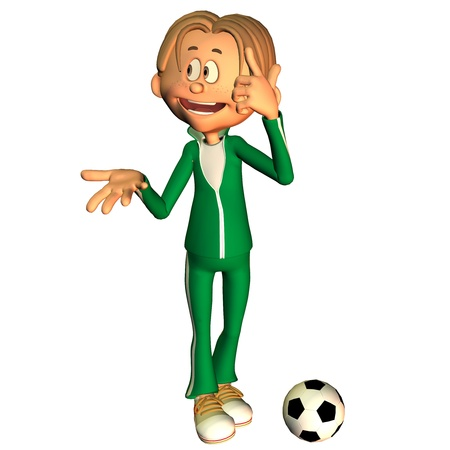 tracksuit: 3d rendering of a football player as an illustration in the comic style