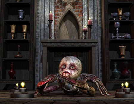 3D Rendering Creature in front of the altar Stock Photo - 9184411