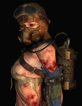 futuristic woman: 3D rendering injured woman wearing a gas mask
