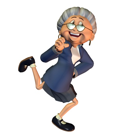 3d rendering  of a dancing grandmother  as an illustration in the comic  style Stock Photo