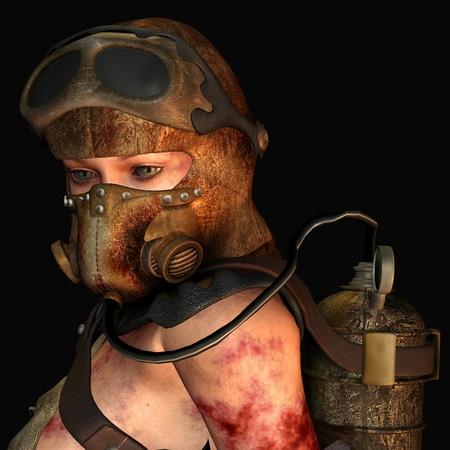 Rendering 3D portrait woman wearing a gas mask photo