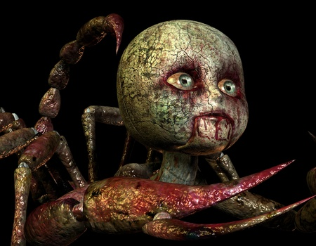 bloody: 3D rendering of a toy dolls head in horror style