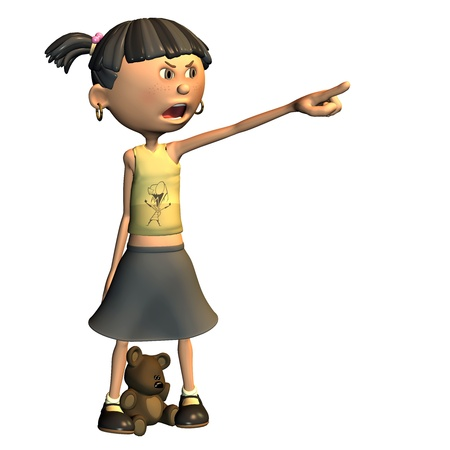 earing: 3d rendering of an angry girl with teddy as illustrations in comic style Stock Photo