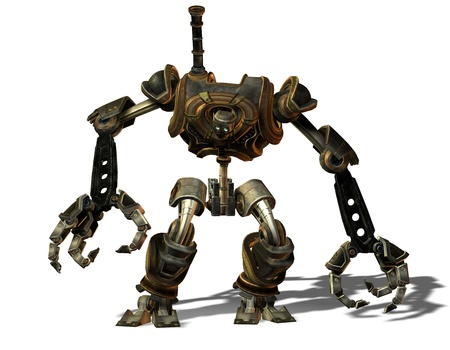 3D Rendering Steampunk robot from the future photo