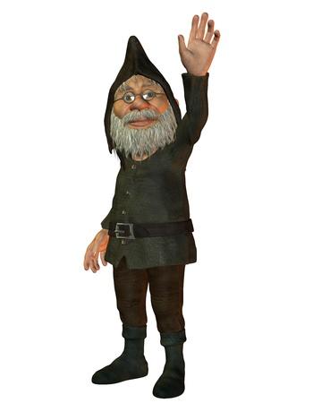 3D Rendering of a waving dwarf