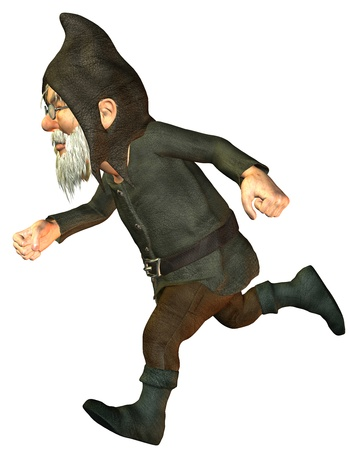 politely: 3D rendering of a running dwarf Stock Photo