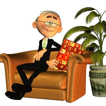 3D-rendering van opa als een afbeelding in de komische stijl