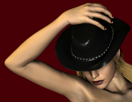 3d rendering  of a young woman with a  hat as an illustration as a  portrait Stock Illustration - 9310696