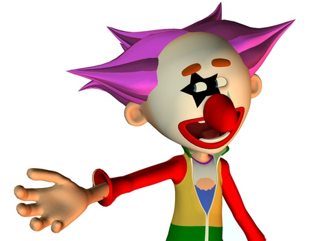3d rendering  of a clown as a portrait as an illustration in the comic style illustration