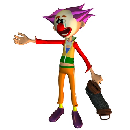 crazy hair: 3d rendering of a singing clown as an illustration in the comic style