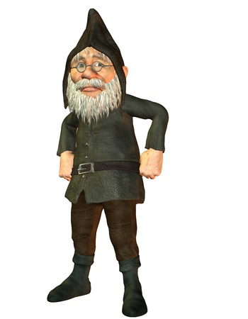 politely: 3D Rendering waiting angry dwarf Stock Photo