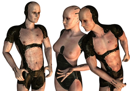 3D rendering of a group of cyborgs photo