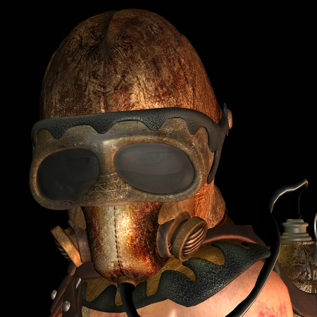 3D rendering close-up woman with an old gas mask photo