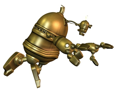 3D Renderingfinal race of old robot Stock Photo - 9339800