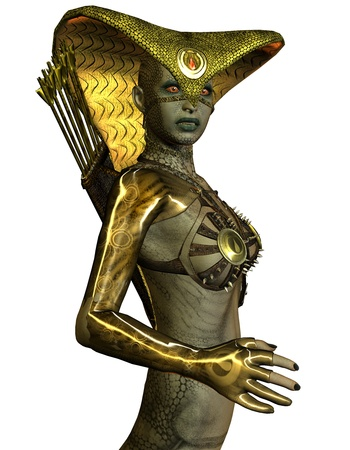 3D rendering Waist female snake beings photo