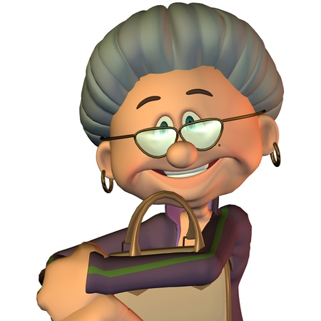 retired: 3d rendering  of a grandma with a  bag as a portrait illustration