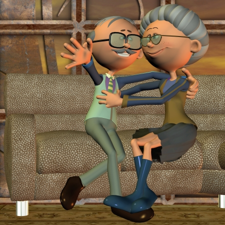 3d rendering  of an old couple on the sofa  as an illustration in the comic  style illustration